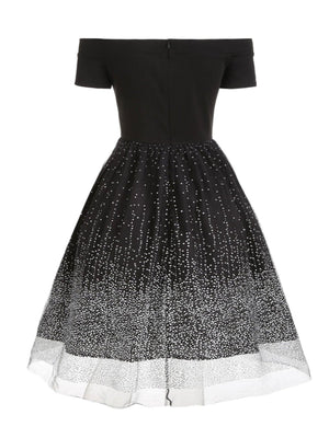 Plus Size Black 1950s Off Shoulder Dress