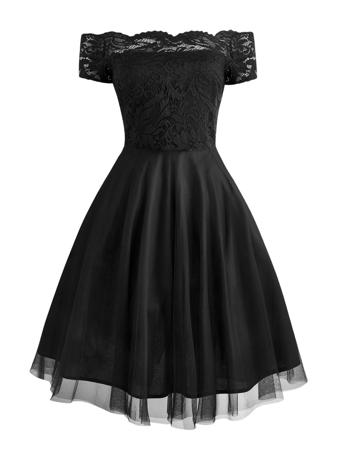 1950s Off Shoulder Lace Swing Dress