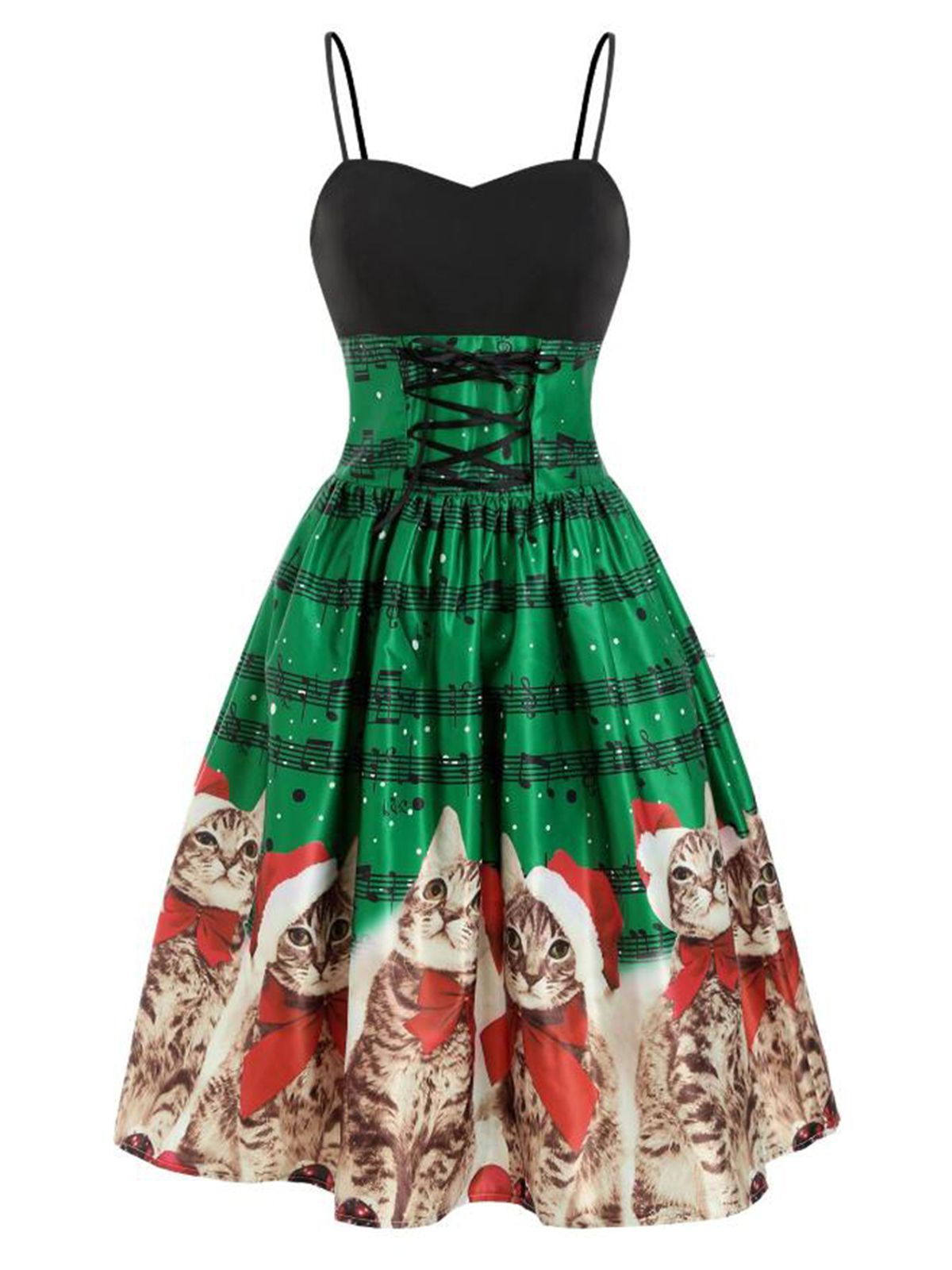 Green 1950s Lace Up Cat Christmas Dress