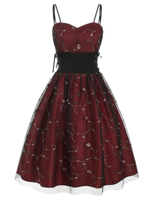 Wine Red 1950s Lace Up Embroidery Dress