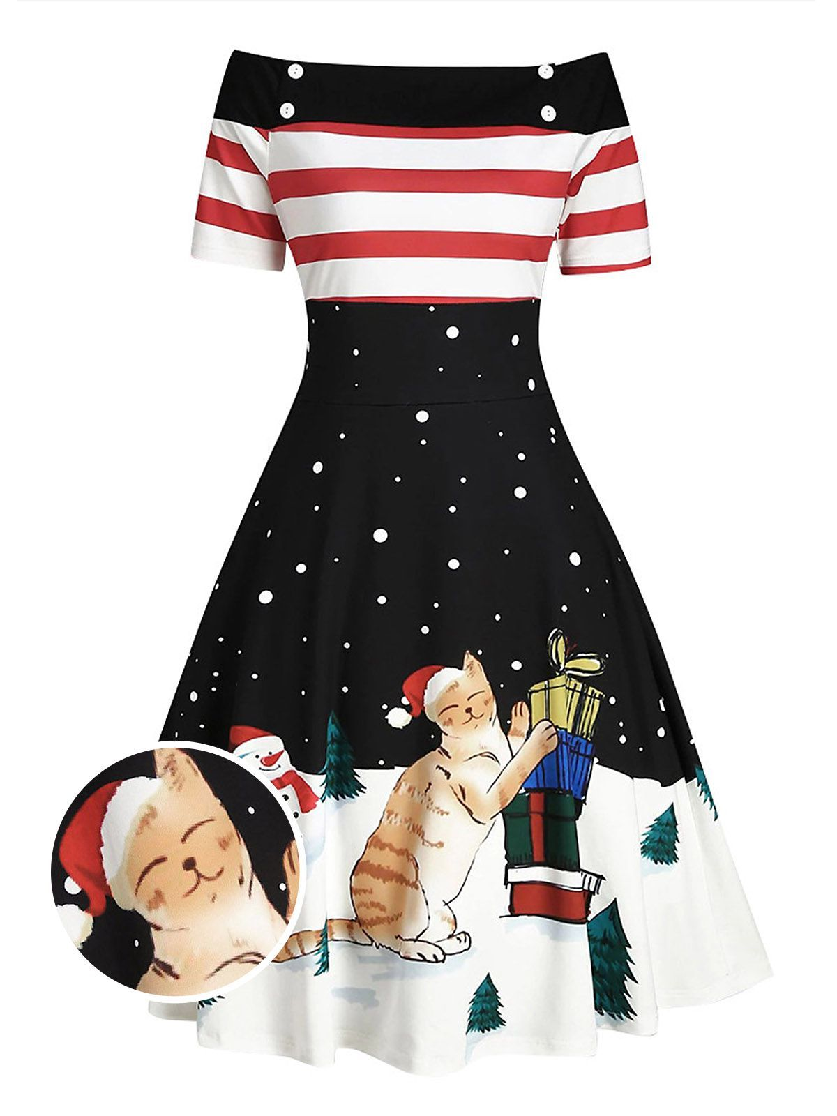 Black 1950s Christmas Off Shoulder Cat Dress