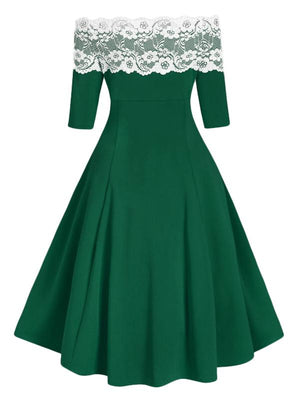 1950s Off Shoulder Button Embellished Dress