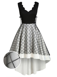 Black 1950s Lace Up Patchwork Swing Dress