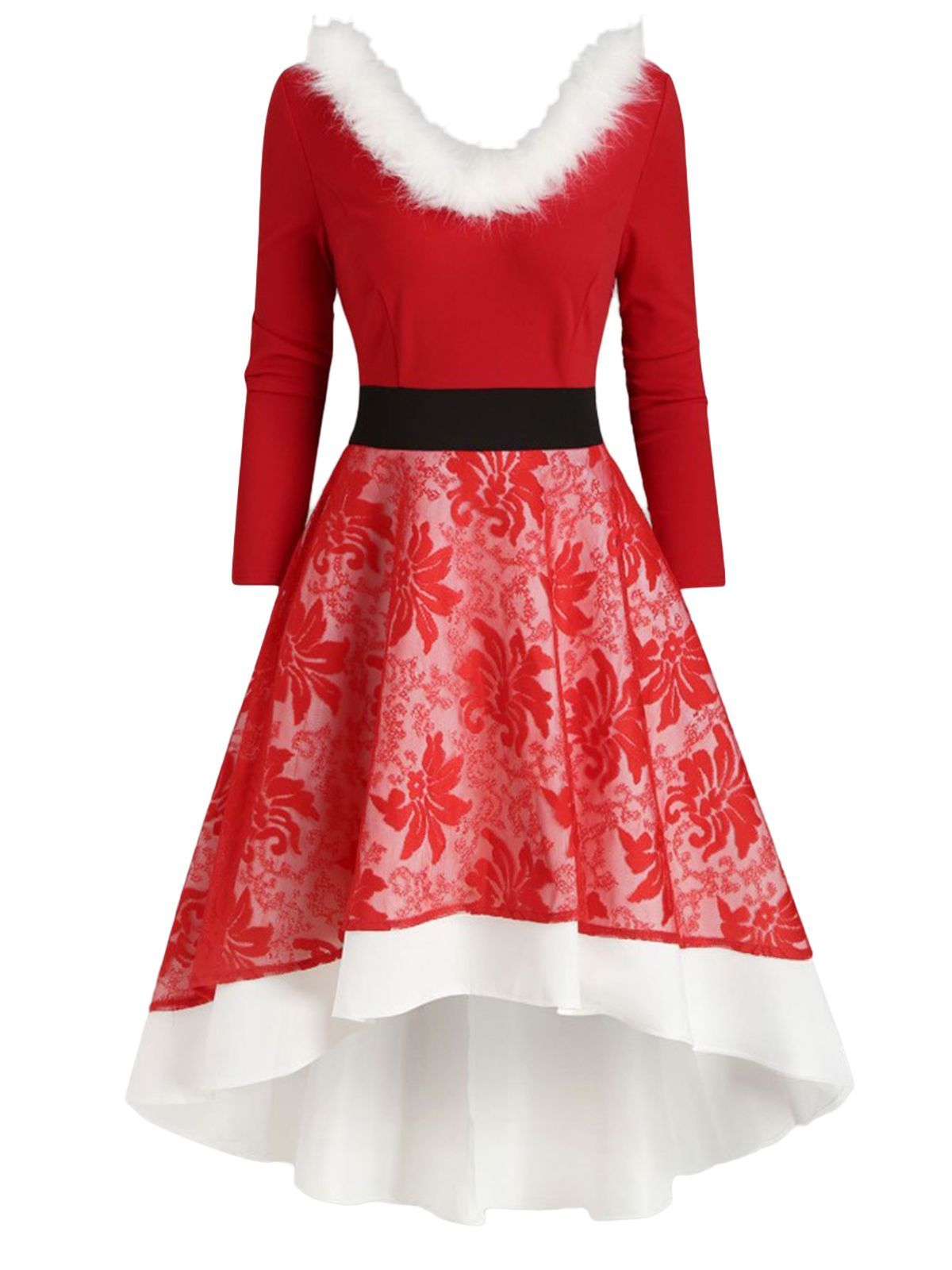 Red 1950s Lace Patchwork Furry Dress