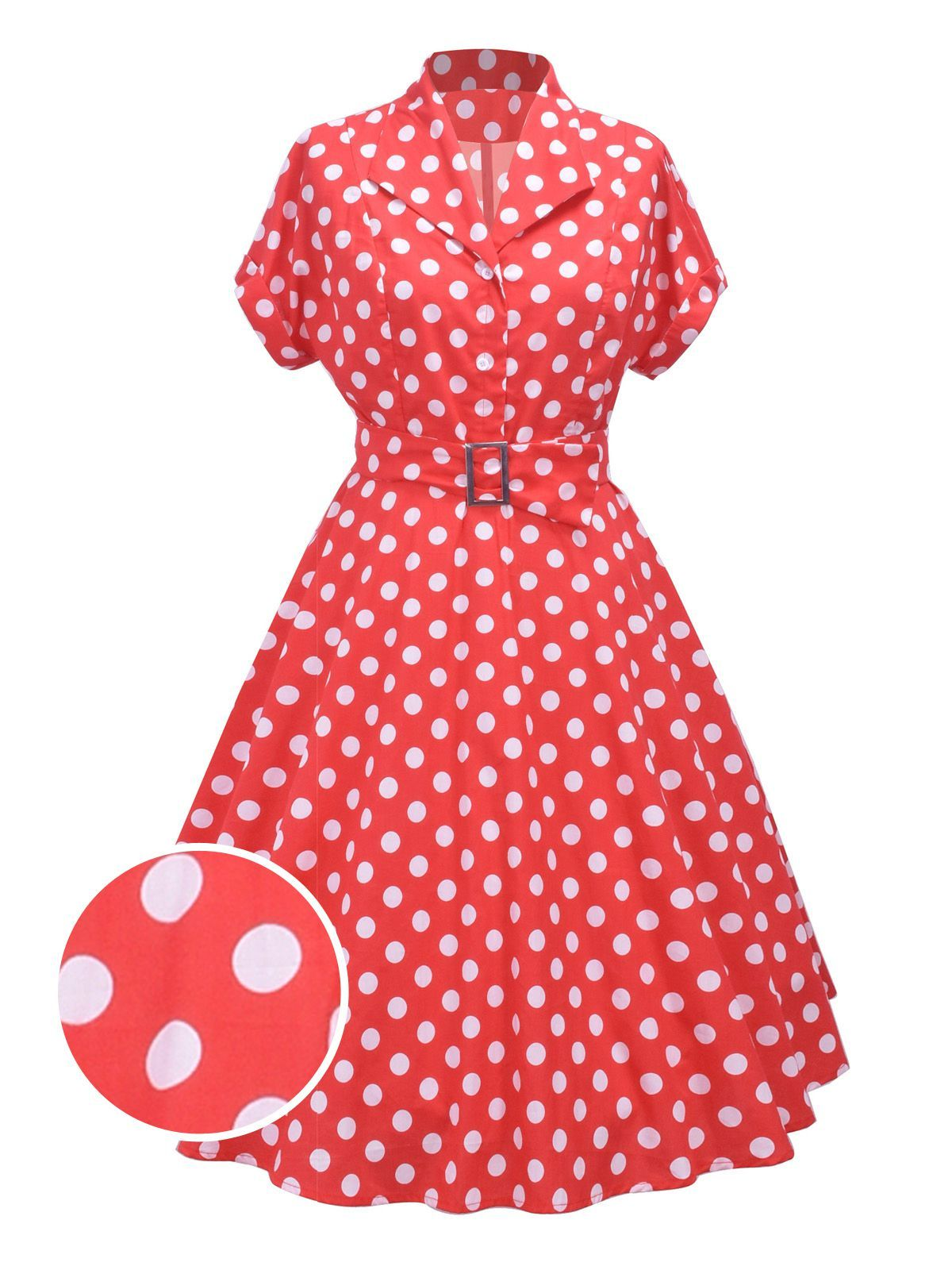 Red 1950s Polka Dot Belt Swing Dress