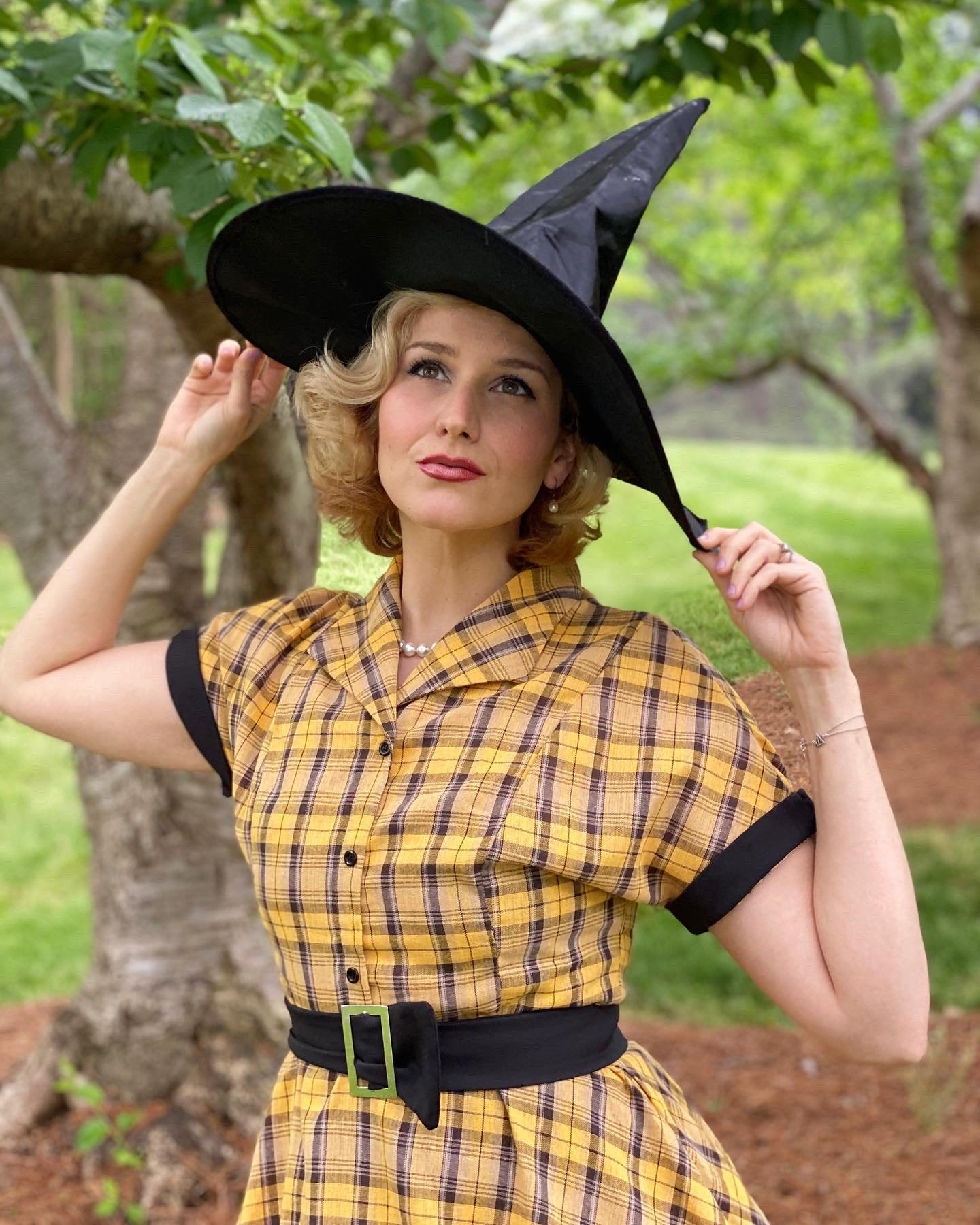 Mustard 1950s Plaid Belt Swing Dress
