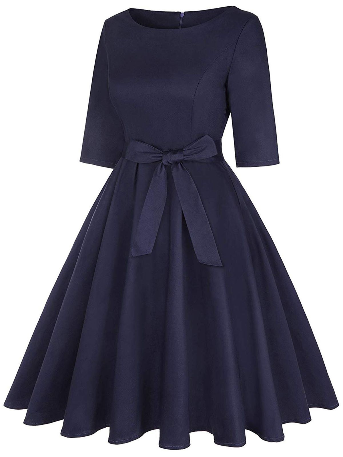 Navy Blue 1950s Solid Bow Swing Dress