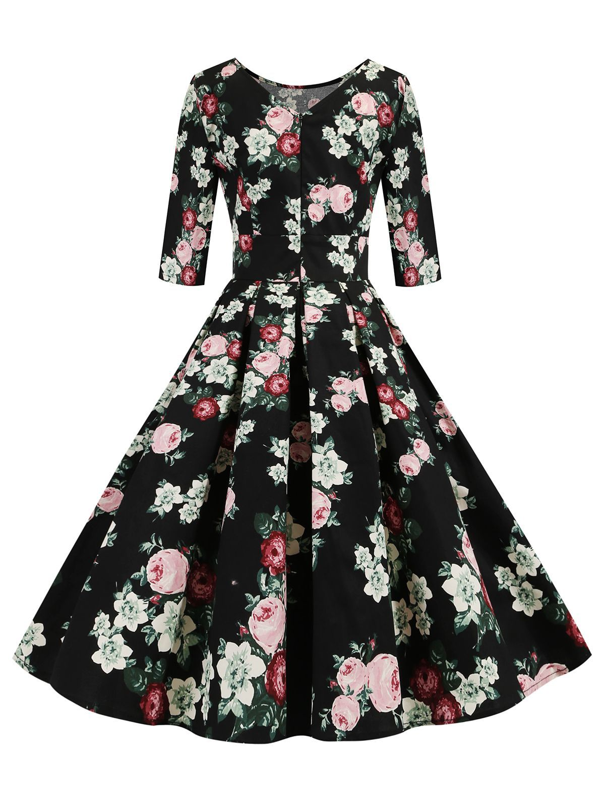 Black 1950s Rose O Neck Swing Dress