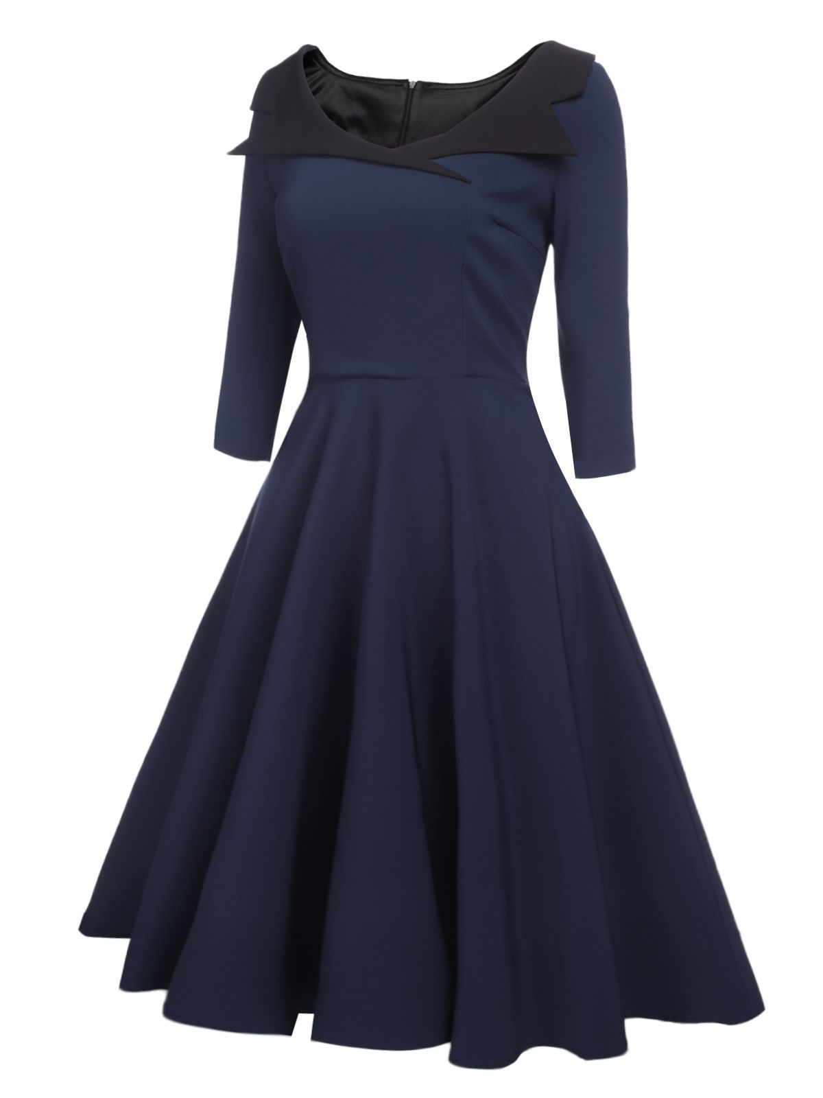 1950s Collar Half Sleeve Swing Dress