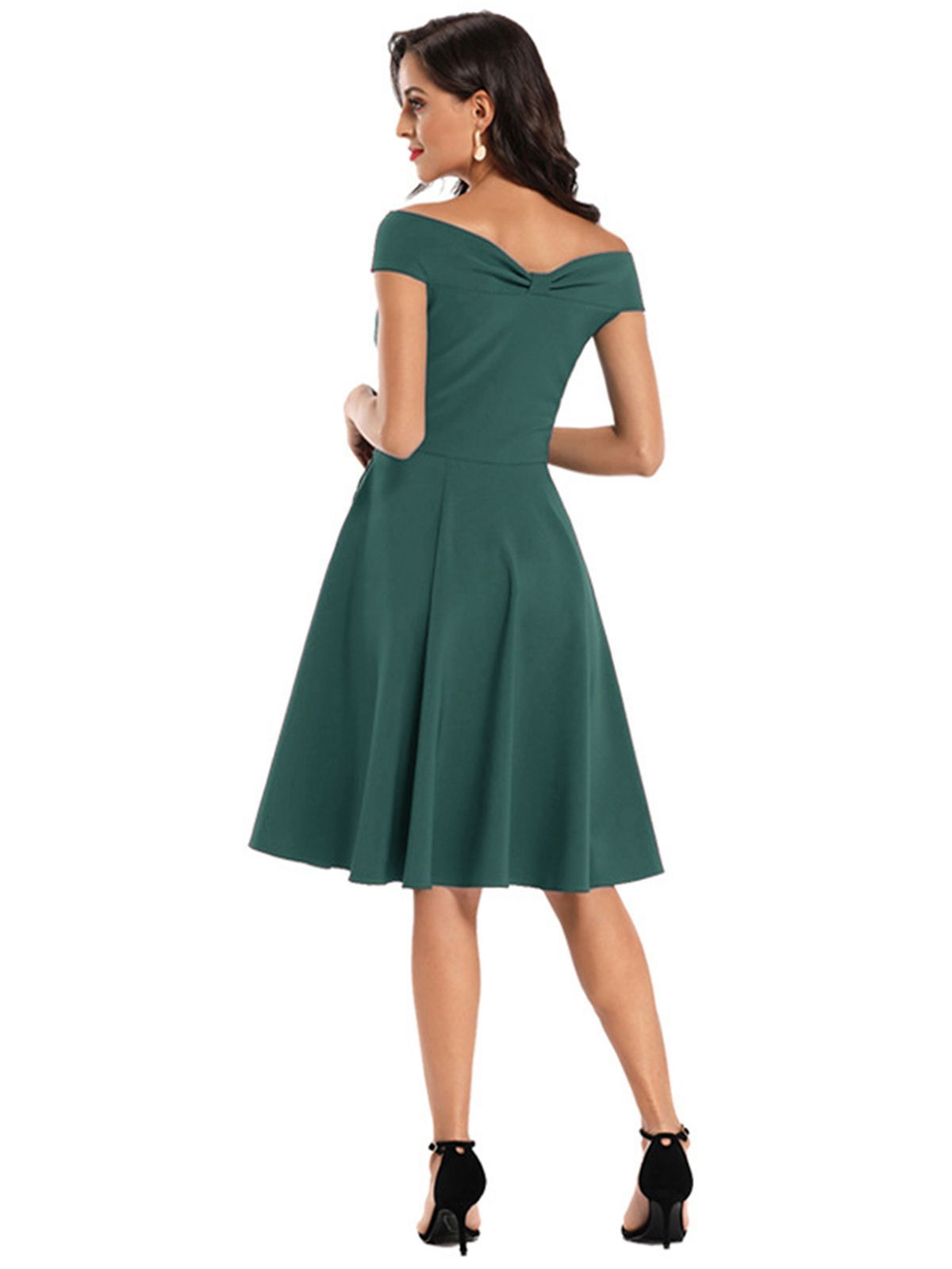 1950s Solid Off Shoulder Swing Dress