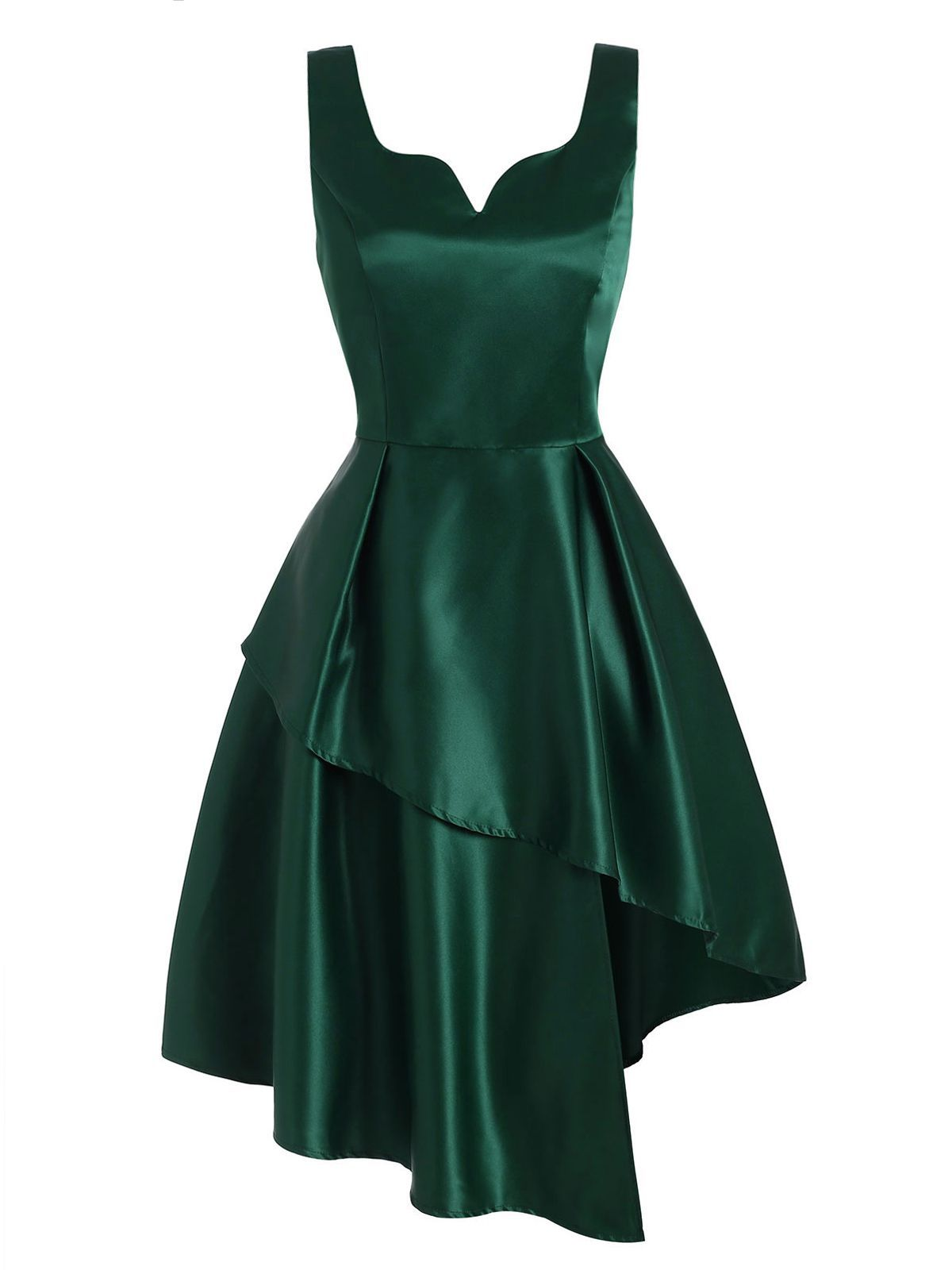 Dark Green 1950s Hi-Lo Swing Dress
