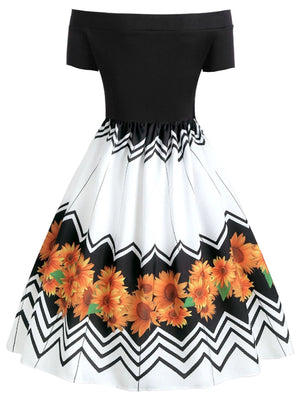 White 1950s Sunflowers Swing Dress