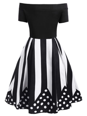 Black 1950s Off Shoulder Stripe Dress