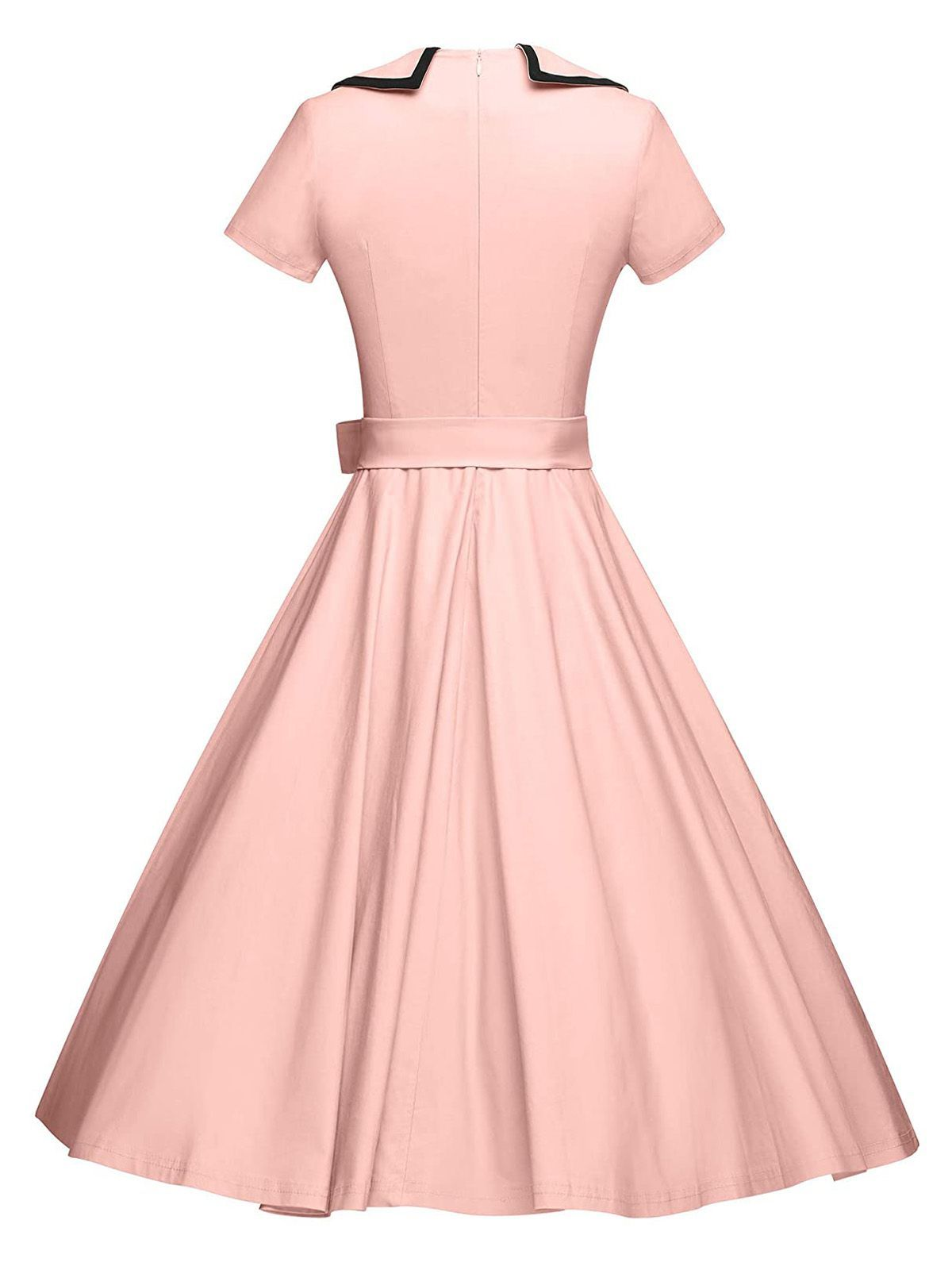 Pink 1950s Button Bow Swing Dress