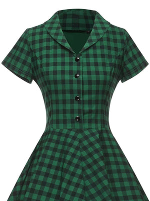Green 1950s Plaid Button Swing Dress