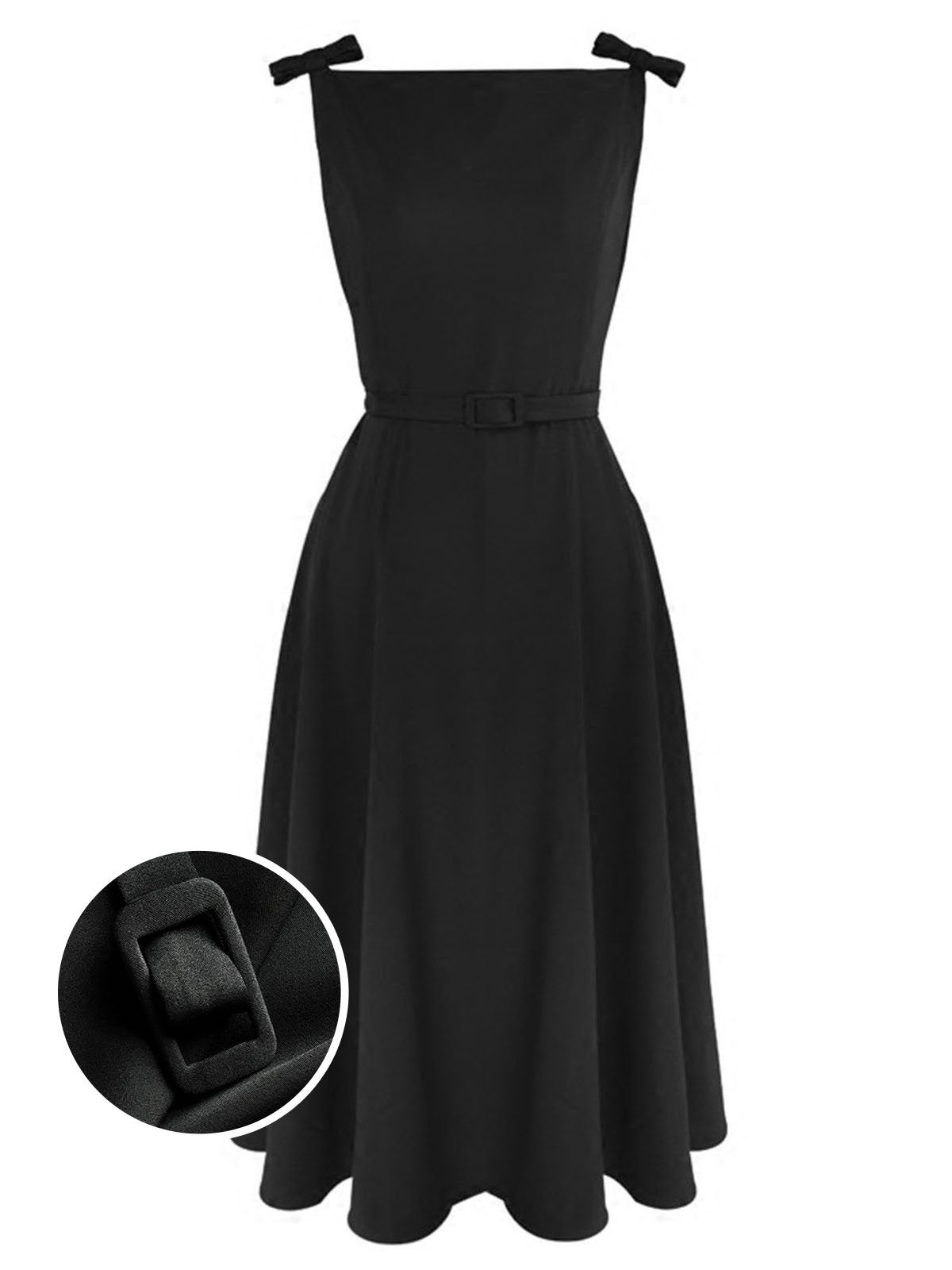 Black 1950s Bow Belt Swing Dress