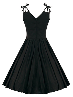 Black 1950s Folds Bow Swing Dress