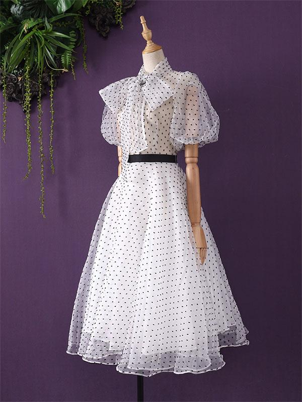 White 1950s Polka Dot Lining Dress