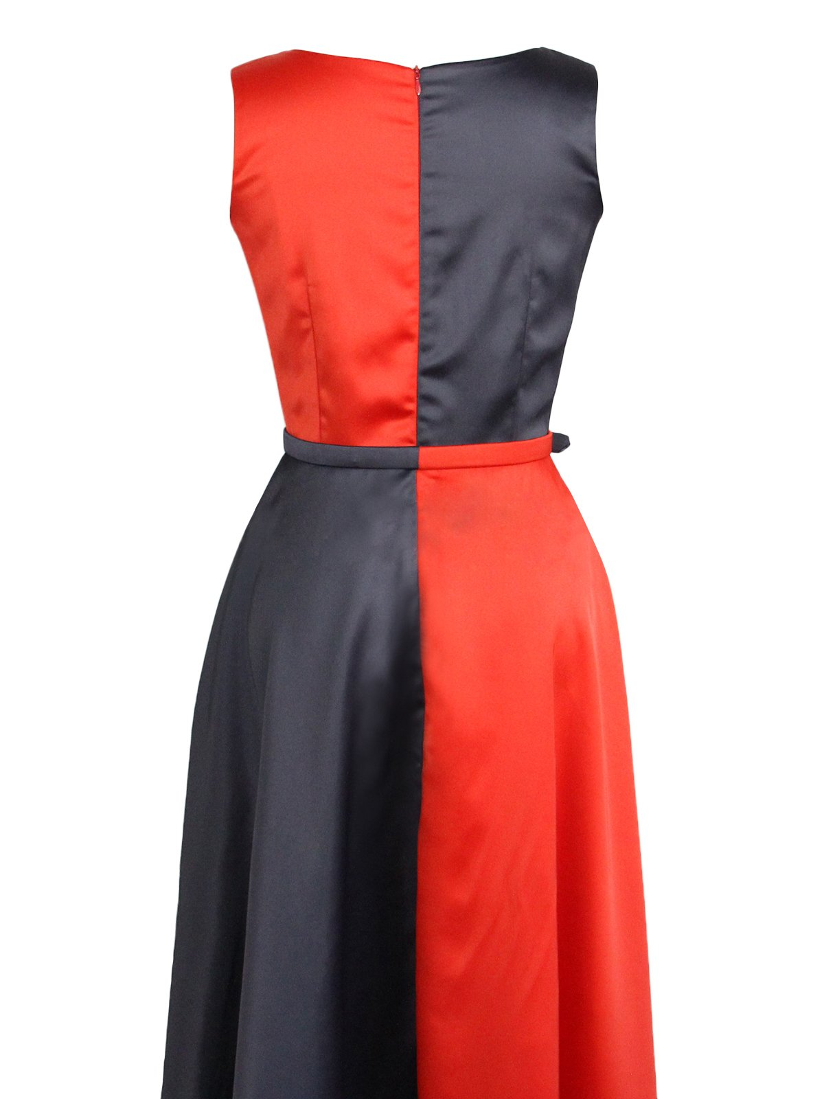 Black Red 1950s Belt Swing Dress