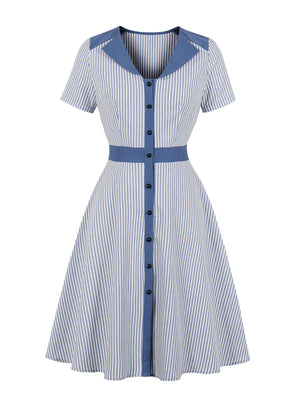 [Pre-sale]1950s Stripes Button Swing Dress