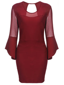 Plus Size Wine Red 1960s Pencil Dress