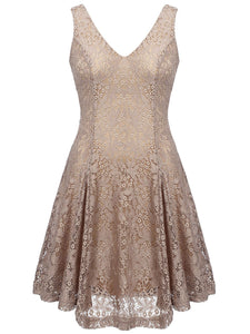Plus Size Khaki 1950s Lace Swing Dress