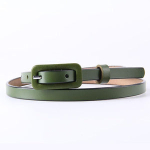 Retro Leather Belt with Square Pin Buckle