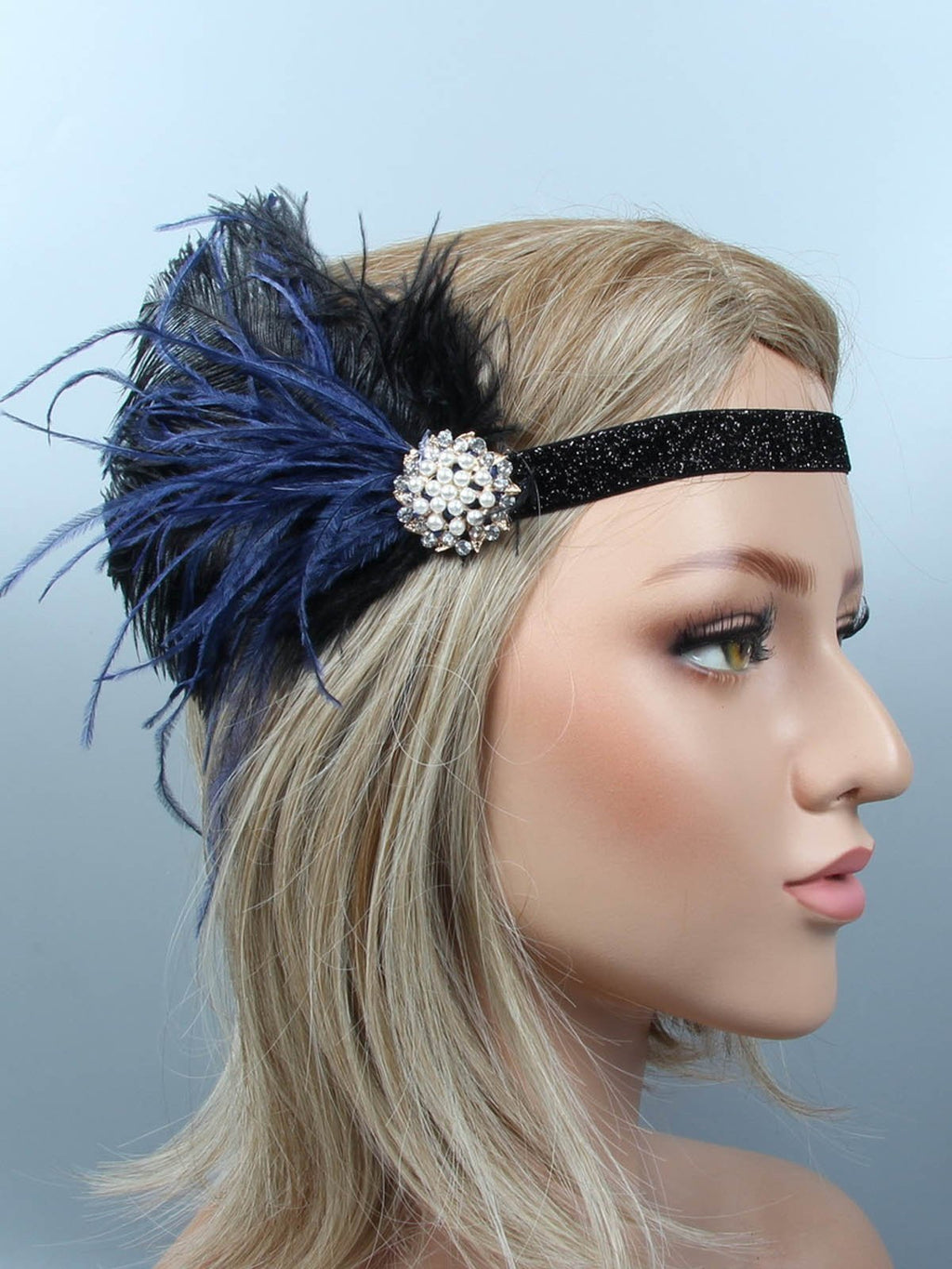 1920s Feather Flapper Headband AH024 - DelaFur Wholesale