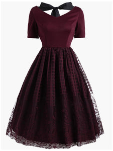 Wine Red 1950s Back Lace Up Dress