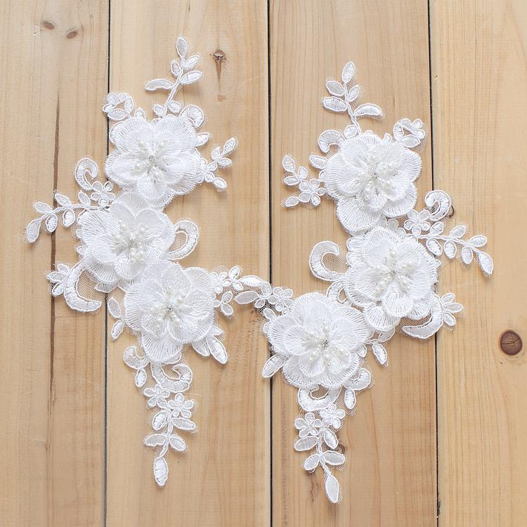White 3D Beaded Lace Applique - DelaFur Wholesale