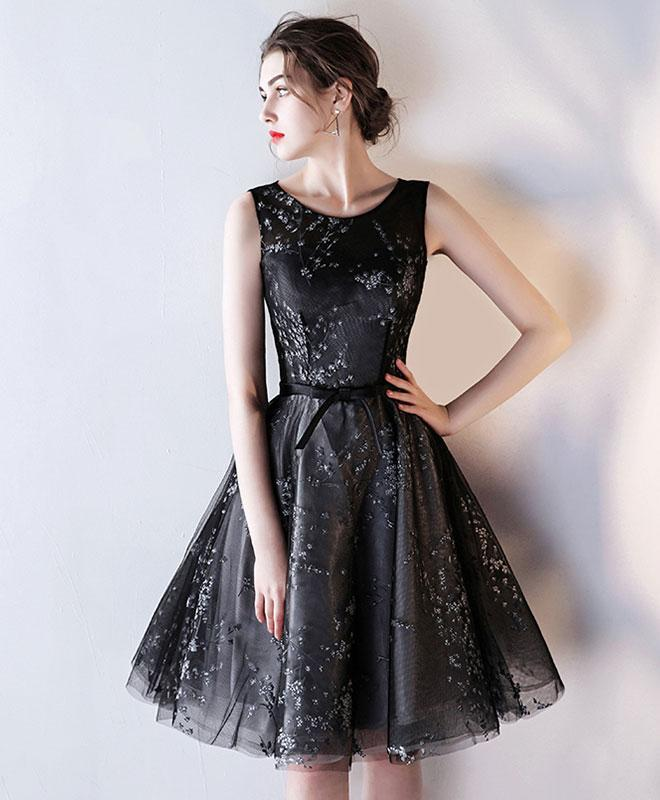 Black Tulle A Line Short Prom Dress, Homecoming Dress