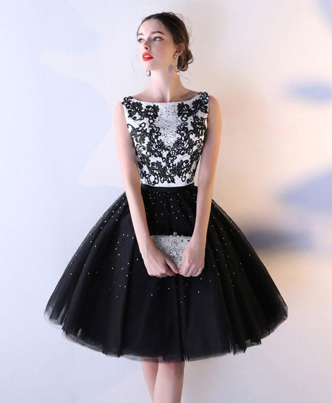 Black Lace Tulle Short Prom Dress, Black Evening Dress