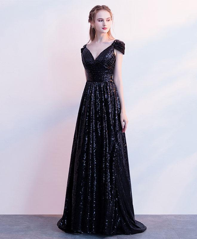 Black Sequins Off Shoulder Long Prom Dress, Black Evening Dress
