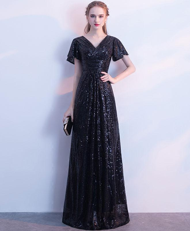 Black Sequins V Neck Long Prom Dress, Black Evening Dress