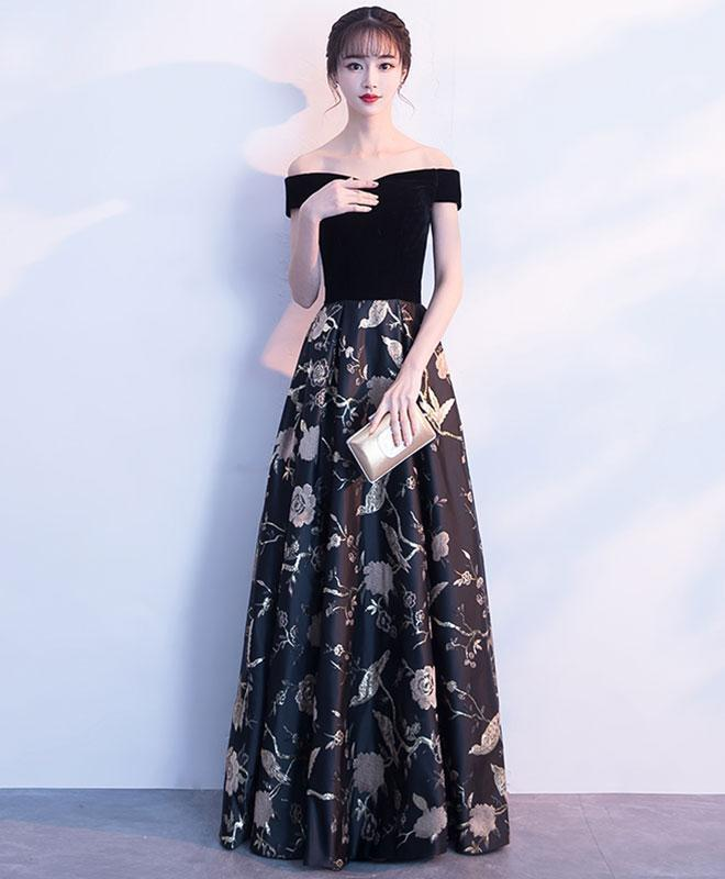 Black Off Shoulder Floral Pattern Long Prom Dress, Evening Dress