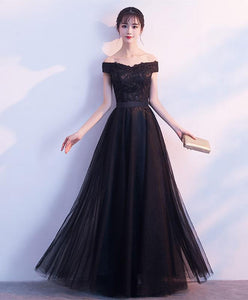Black Lace Tulle Long Prom Dress, Lace Evening Dress