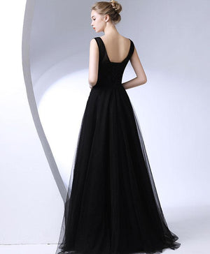 Black Round Neck Long Prom Dress, Black Evening Dress