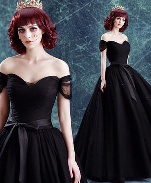 Black Off Shoulder Long Prom Gown, Black Evening Dress
