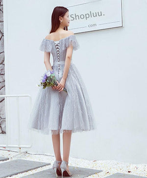 Stylish Lace Tulle Off Shoulder Short Prom Dress, Homecoming Dress