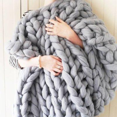 Gray Chunky Knit Blanket Knitted Blanket, Chunky Blanket, Bulky Gift - DelaFur Wholesale