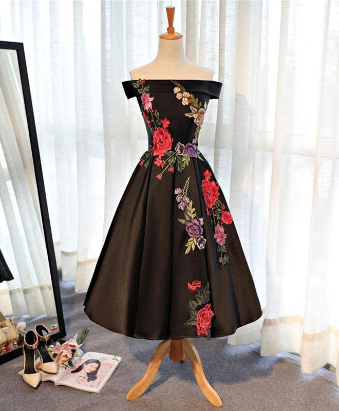 Black Satin Short Prom Dress, Black Evening Dress