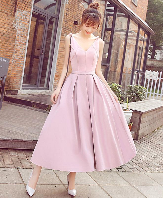 Stylish Pink V Neck Short Prom Dress, Cheap Evening Dress