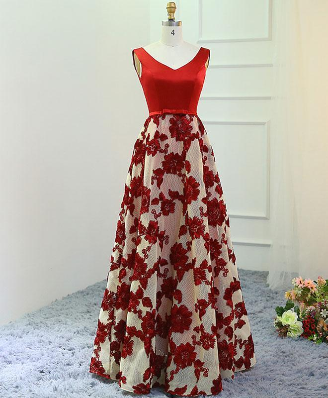 Stylish Red A-Line V Neck Long Prom Dress, Red Evening Dress