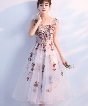 White A Line Lace Tulle Tea Length Prom Dress, White Evening Dress