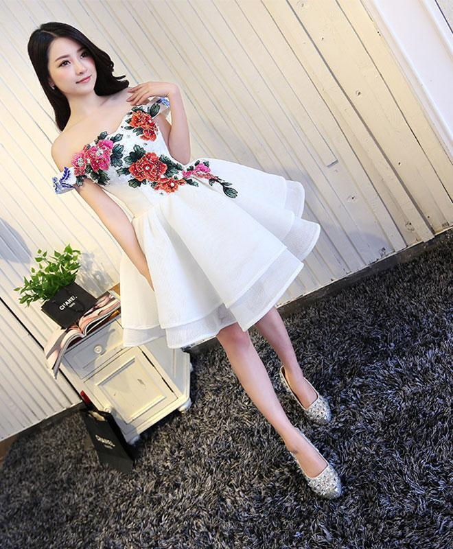 White A Line Off Shoulder Short Prom Dress, White Evening Dress