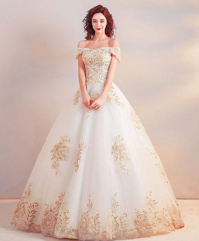 White Long Prom Dress, Champagne Lace Evening Dress