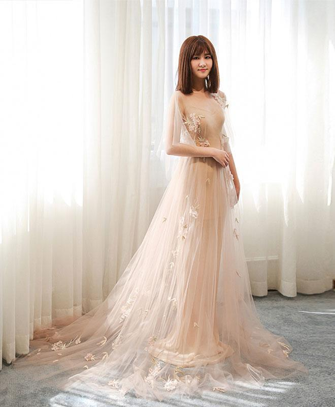 Stylish Tulle Lace Long Prom Dress, Evening Dress