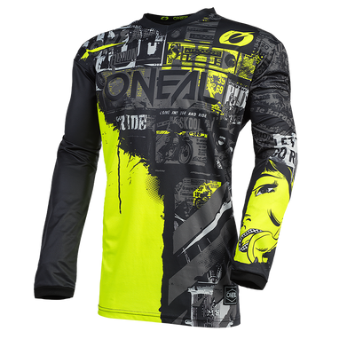O`NEAL ELEMENT JERSEY RIDE BLACK/NEON YELLOW