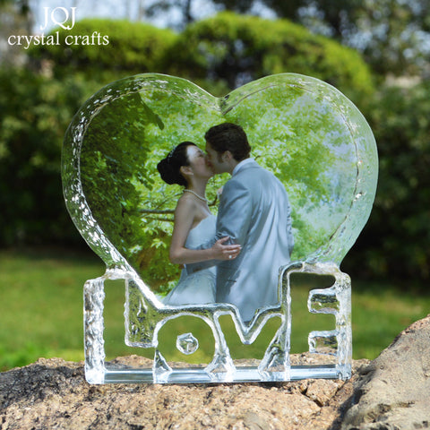 Customize Heart Shape Crystal Weeding LOVE Photo Frame
