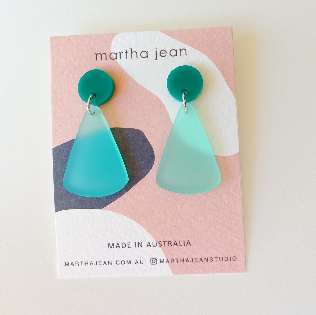 Moon Mountain Earrings - Teal/Frosted Mint